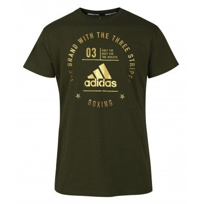 Футболка Adidas The Brand With The Three Stripes T-Shirt Boxing зелено-золотая