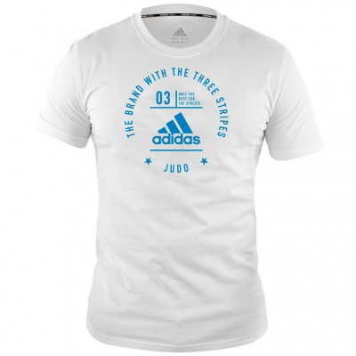 Футболка Adidas The Brand With The Three Stripes T-Shirt Judo adiCL01J бело-голубая