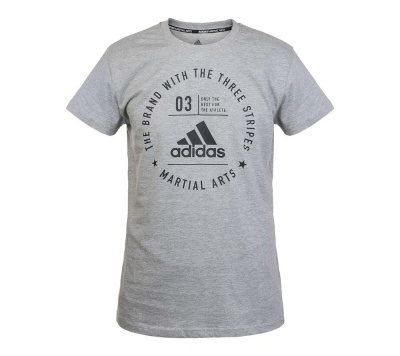 Футболка Adidas The Brand With The Three Stripes T-Shirt Martial Arts серо-черная