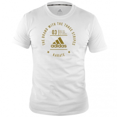 Футболка Adidas The Brand With The Three Stripes T-Shirt Karate adiCL01K бело-золотая