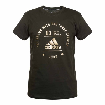 Футболка Adidas The Brand With The Three Stripes T-Shirt Judo зелено-золотая